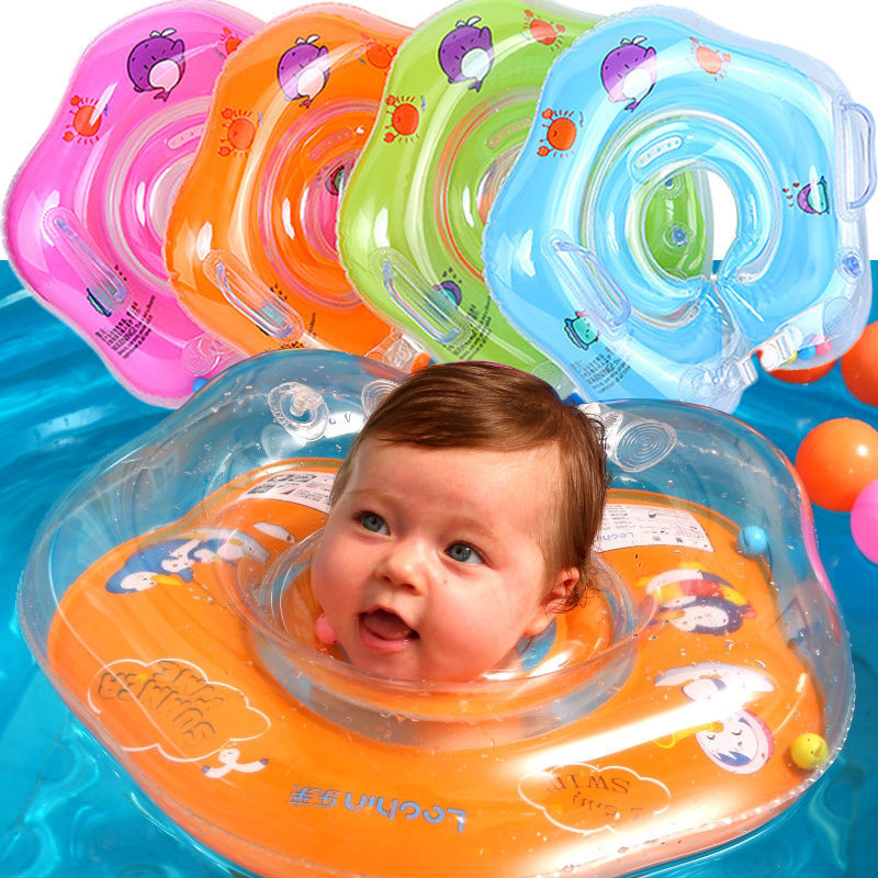 Baby Swimming Ring Neck Ring With Bell Safety Infant Neck Float Circle For Baby Swimming Pool Bathing Inflatable For 0-3 Years