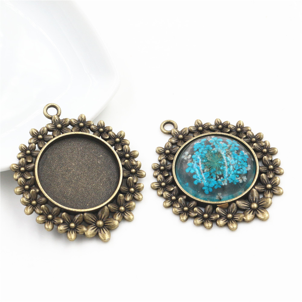 New Fashion 5pcs 25mm Inner Size Antique Bronze Flowers Style Cabochon Base Setting Charms Pendant (A5-04)