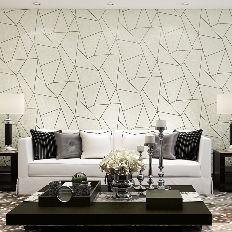 3D Stereoscopic Geometric Non-woven Flocking Wallpaper Modern Living Room Sofa Bedroom TV Background Home Decor Wall Paper Rolls
