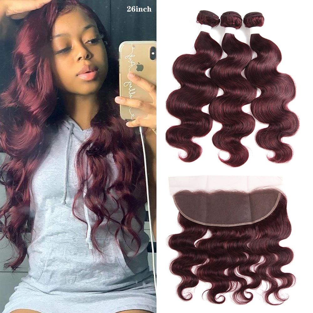99J/Burgundy Body Wave Human Hair Bundles With Frontal 13x4 KEMY RedWine Brazilian Hair Weave Bundles With Closure Non-Remy Hair