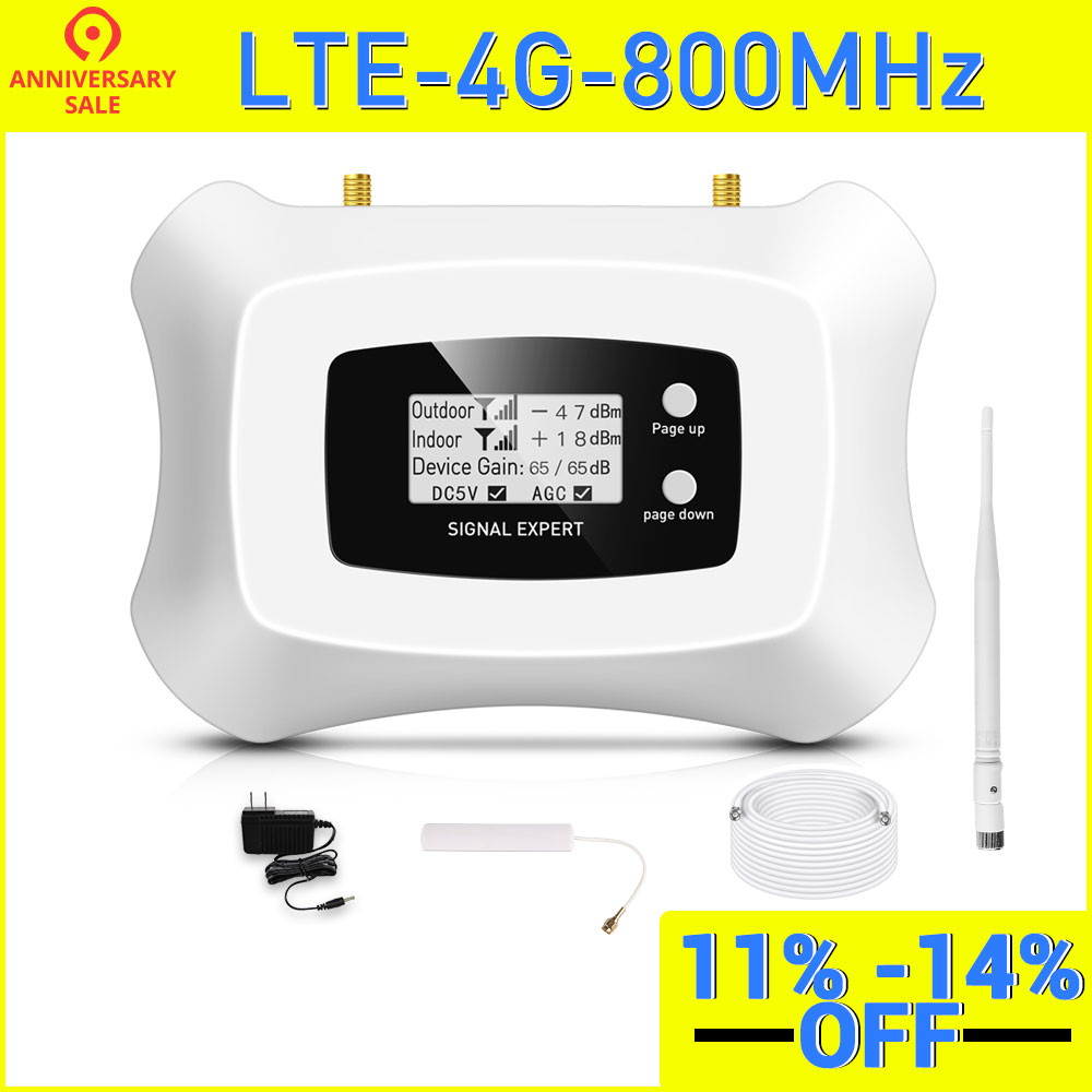 High Quality! LTE 4G 800MHz Signal Booster , 4G Mobile Phone Signal Repeater Cellular Signal  Amplifier LTE 4g Repeater Kit