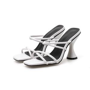 Image 4 - Kcenid SLIP บนรองเท้าแตะผู้หญิง 2020 อินเทรนด์ถ้วยรองเท้าส้นสูงสีขาวรองเท้าผู้หญิงฤดูร้อนรองเท้าแตะสุภาพสตรีชายหาด flops