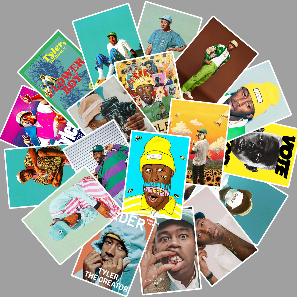 25pcs Rapper Singer Tyler The Creator Portrait Stickers For Laptop PVC Backpack Water Bottle Pad Bicycle waterproof Decal Toy