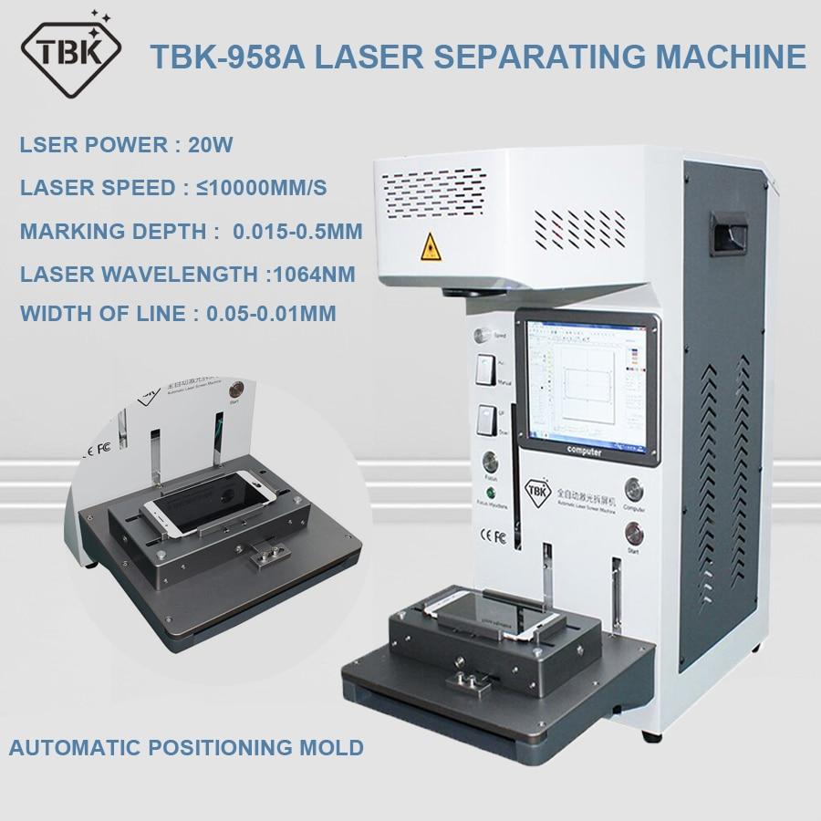 TBK-958A nouvelle arrivée 20W automatique Laser Machine de découpe pour iPhone8 X XSMAX PRO retour verre solvant colle solvant LCD cadre réparation Laser séparation gravure marquage Machine avec positionnement moule