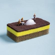 3 pcs/lot Scrub Sponges Heavy Duty Sponge Powerful Scrubbing For Stuck-on Messes