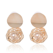 YuYiJia RETRO Geometric Earrings Simple Woven Ball Pearl Ear Stud Metal Personality Brushed