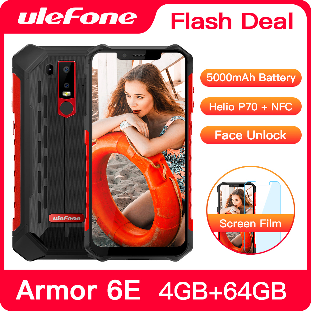 Ulefone Armor 6E IP68 Waterproof NFC Rugged Mobile Phone Helio P70 Otca-core Android 9.0 4GB+64GB Wireless Charge Smartphone image