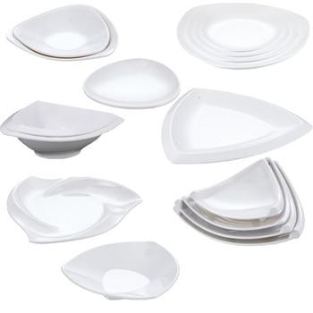 Melamine Dinnerware Dinner Plate Three Angle Plate Chain Restaurant Melamine Plate A5 Melamine Tableware Vegetables Plate фото