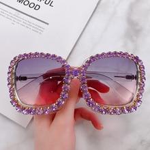 2020 Vintage Oversized Square Colorful Diamond Sunglasses Women Luxury Crystal F