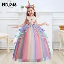 Robe élégante de princesse licorne pour petite fille, avec appliques florales, vêtements de fête, pour enfants