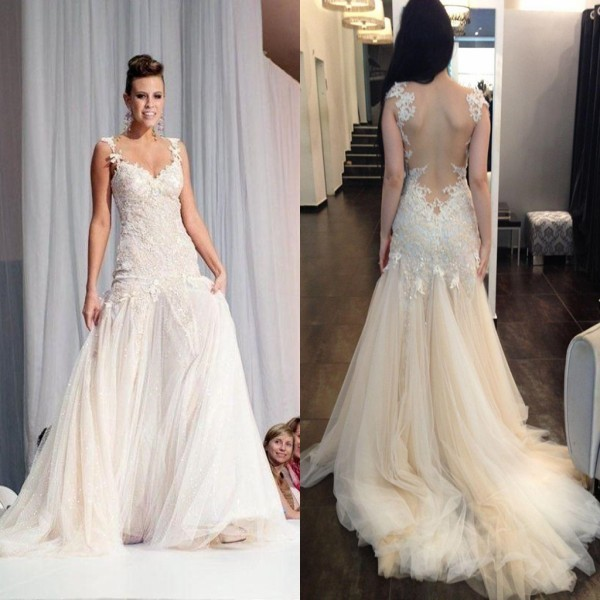New Fashion Lace Wedding Dresses Sexy Sweetheart Neck See Through Back Tulle Sexy Sheath Bridal Gown Custom Made Size