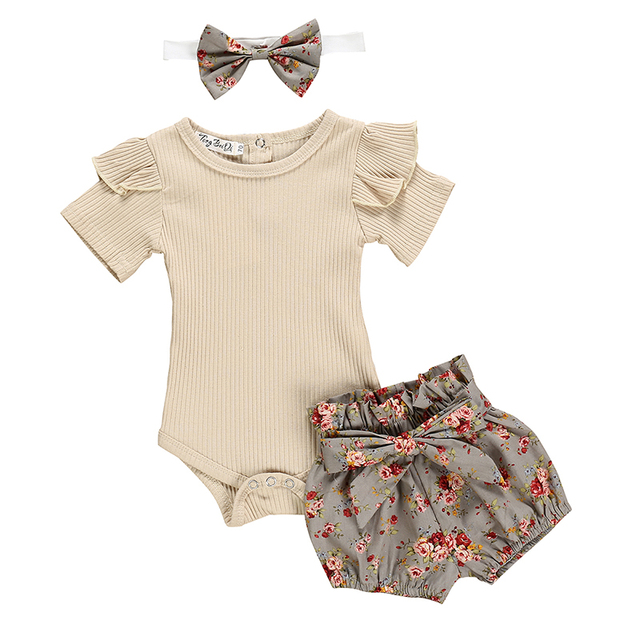 Summer Newborn Baby Girl Clothes Set Solid Color Short Sleeve Ruffle Romper Tops Flower Short Pants Headband 3Pcs Infant Outfits