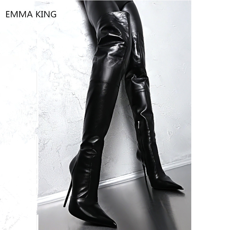 2019 Winter Black Leather Pointed Toe Thigh High Boots Women Sexy Stretch Stilettos Over Knee Boots Side Zipper High Heels Shoes