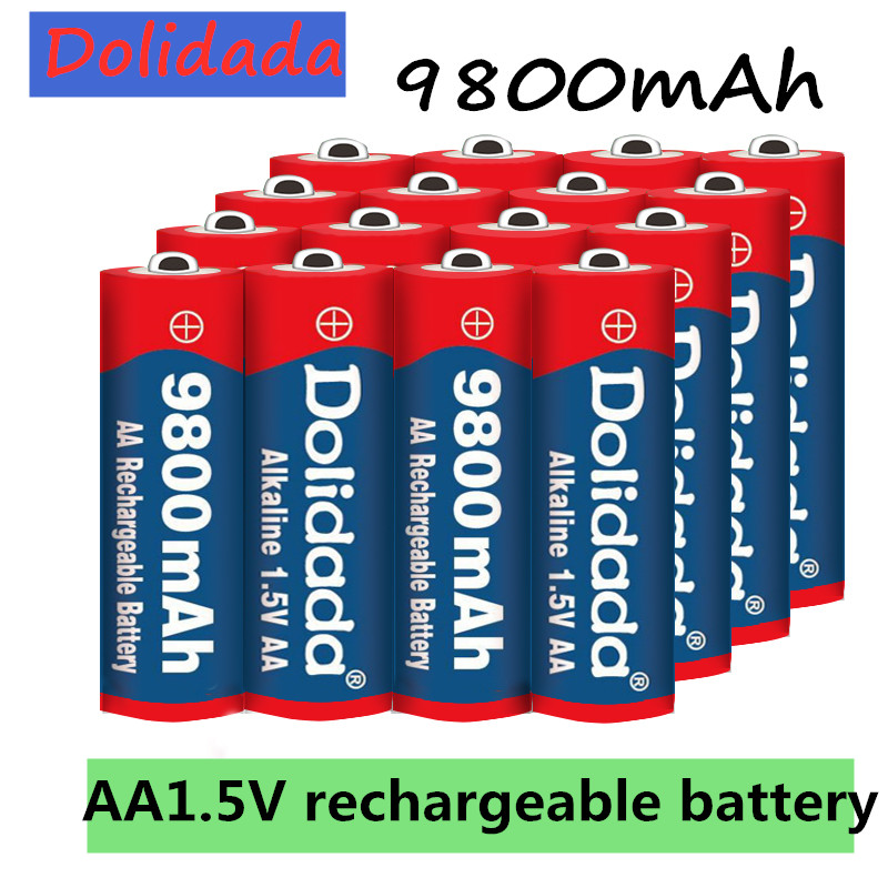 1 ~ 20 шт./лот перезаряжаемая батарея AA 9800 мАч 1,5 В новая Щелочная перезаряжаемая батарея для светодиодной игрушки mp3