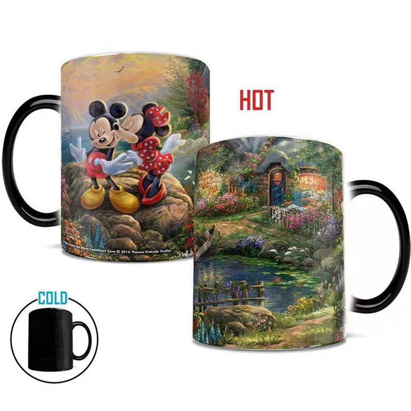 350mL Disney Mickey Water Cup Heat Sensitive Color Changing Ceramic Mug Coffee Milk Beer Tea Cups Home Office Collection Gifts