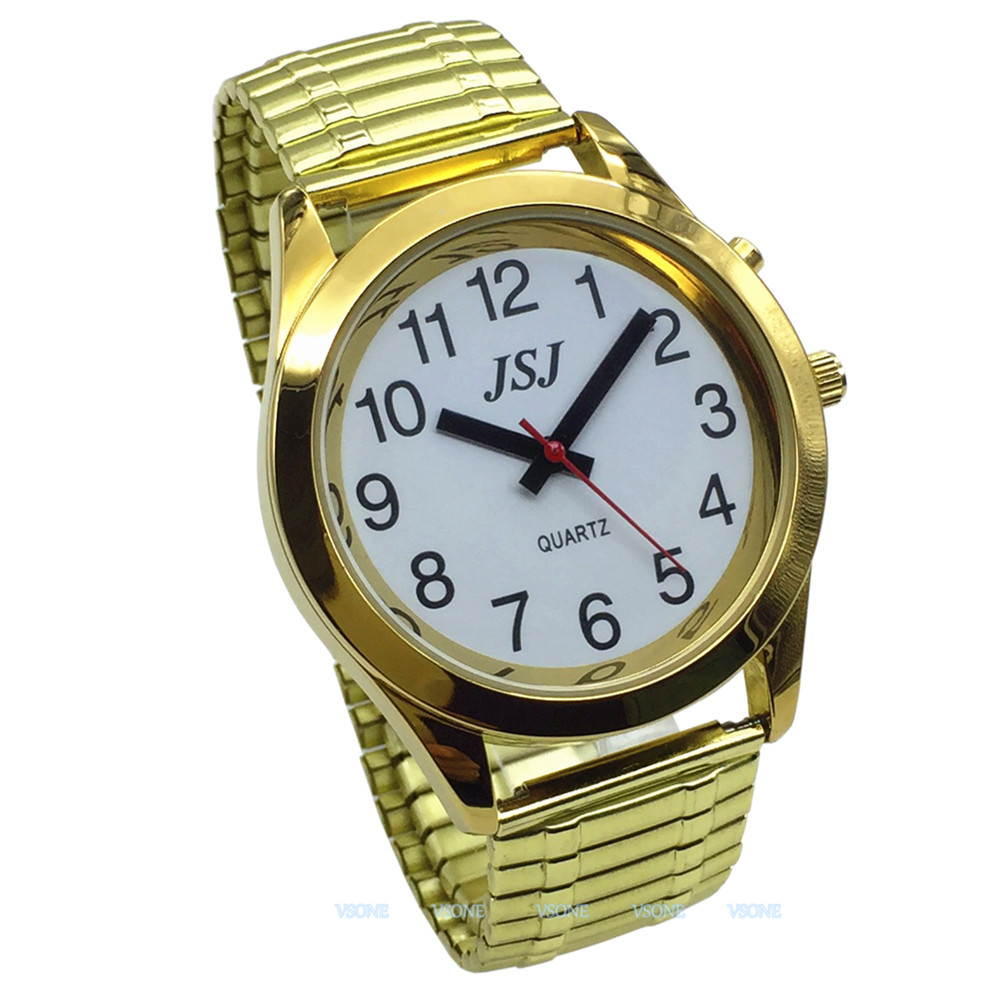 English Talking Watch With Alarm, Talking Date And Time, White Dial, Expanding Bracelet TAG-702