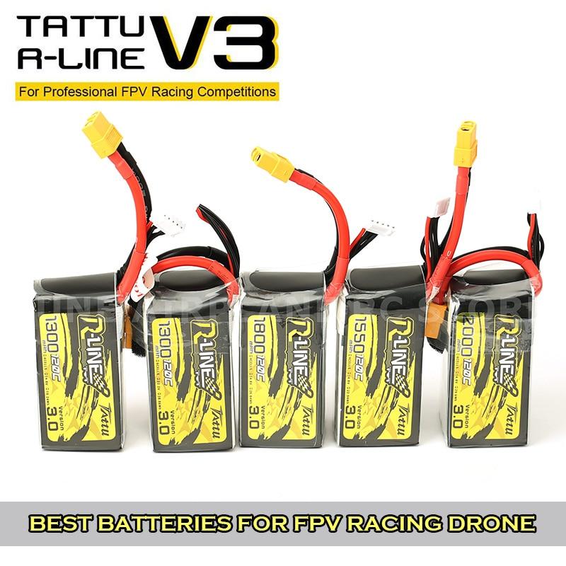Tattu R-Line Version 3.0 V3 1300/1550/1800/2000mAh 95C 100C120C 4S 6S 4.2V Lipo Battery XT60 Plug FPV Racing Drone RC Quadcopter