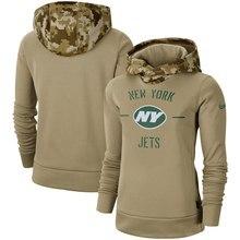 Нью-Йорк женский молодежный Американский Футбол Толстовка Джетс Салют для обслуживания Sideline Therma пуловер с капюшоном Тан