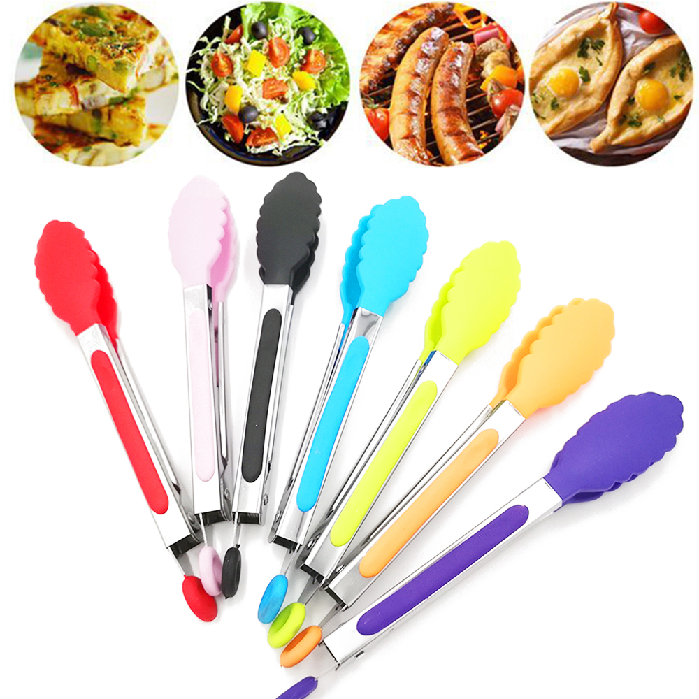 3pcs mini Kitchen Stainless steel Salad BBQ Cooking Food Utensil Tongs Clip Lots