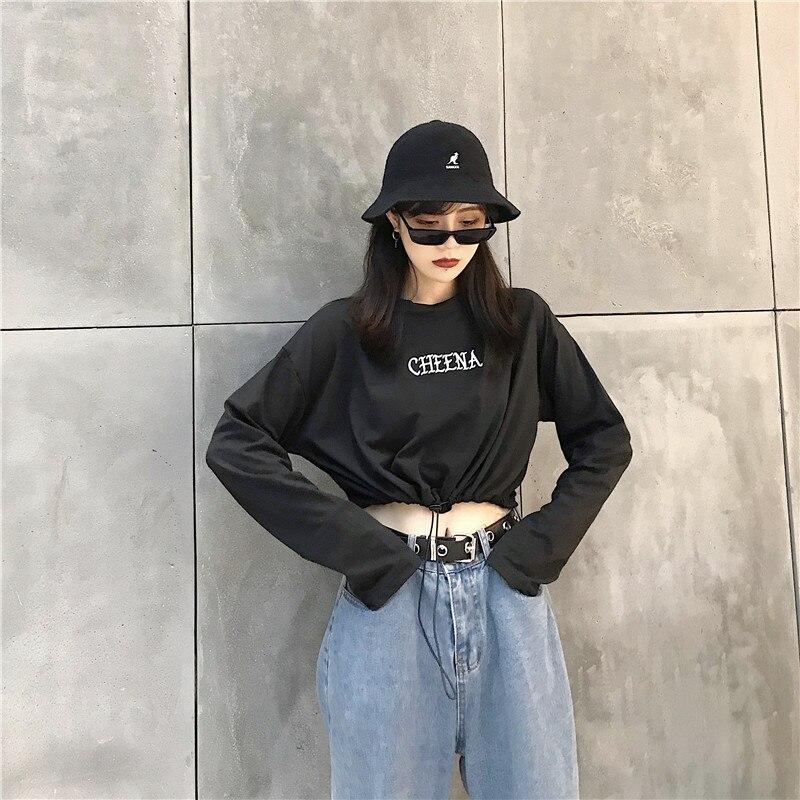 Female T-shirt ropa mujer Women  Long Sleeve T Shirt O-neck Letter print  kawaii fashion Short  t-shirts Women clothes Crop Top