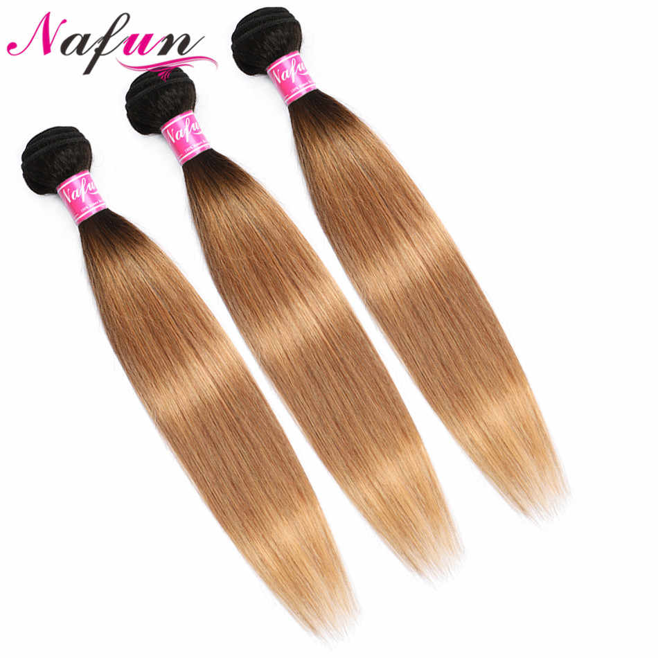 Nafun T1b/27 Hair Bundles With Closure Blonde Straight Hair Wave Bundles Human Hair Bundles Malaysian Non-Remy Middle Ratio