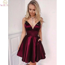 Homecoming-Dresses Satin Graduation-Gown Formal Cheap Mini Short Simple Ruched A-Line