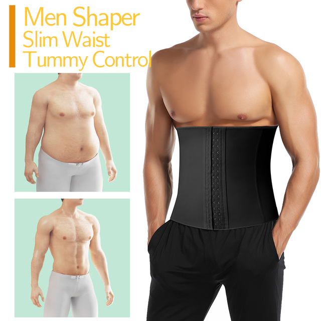 Men Latex Waist Trainer Cincher Sauna Sweat Belt Fitness Weight Loss Fat Burning Body Shaper Tummy Control Girdle Modeling Strap 2