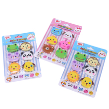 6pcs/pack Zoo Kawaii Cake Pencil Erasers For Kids Stationery School Supplies Students Gifts