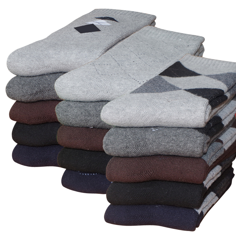 Eur40-44 Hot 5pairs/lot Men Winter Thicken Warm Terry Socks Male Business Casual Thermal Cotton Socks (60g/pair)