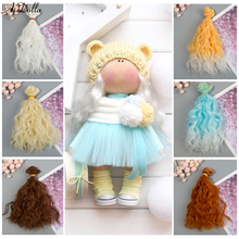 Aidolla Fashion DIY 15*100cm Mini Tresses Curly Wigs High-Temperature Material Straight Hair Wig For BJD Doll Accessories