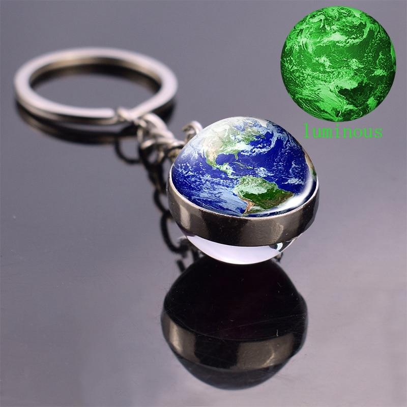 World Map Keychain Globe Earth Pendant Key Chain Luminous Keychain Keyring Keyfob Glow In The Dark Jewelry Accessories