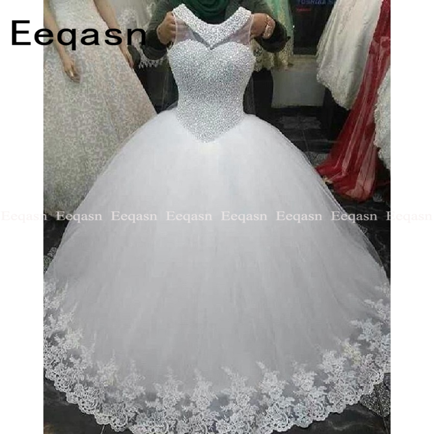 Robe De Soiree Luxury Full Pearls Princess Wedding Dress Ball Gown Lace Applique Tulle White/Ivory Bride Gown 2020