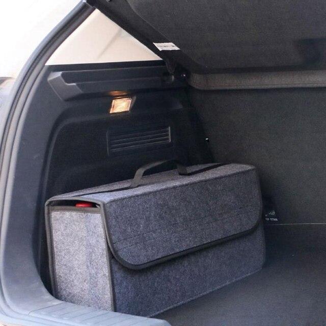 Auto Trunk Organizer Auto Lagerung Tasche Fracht Container Box Feuerfeste Verstauen Aufräumen Halter Multi Tasche Auto Styling 50*17*24cm
