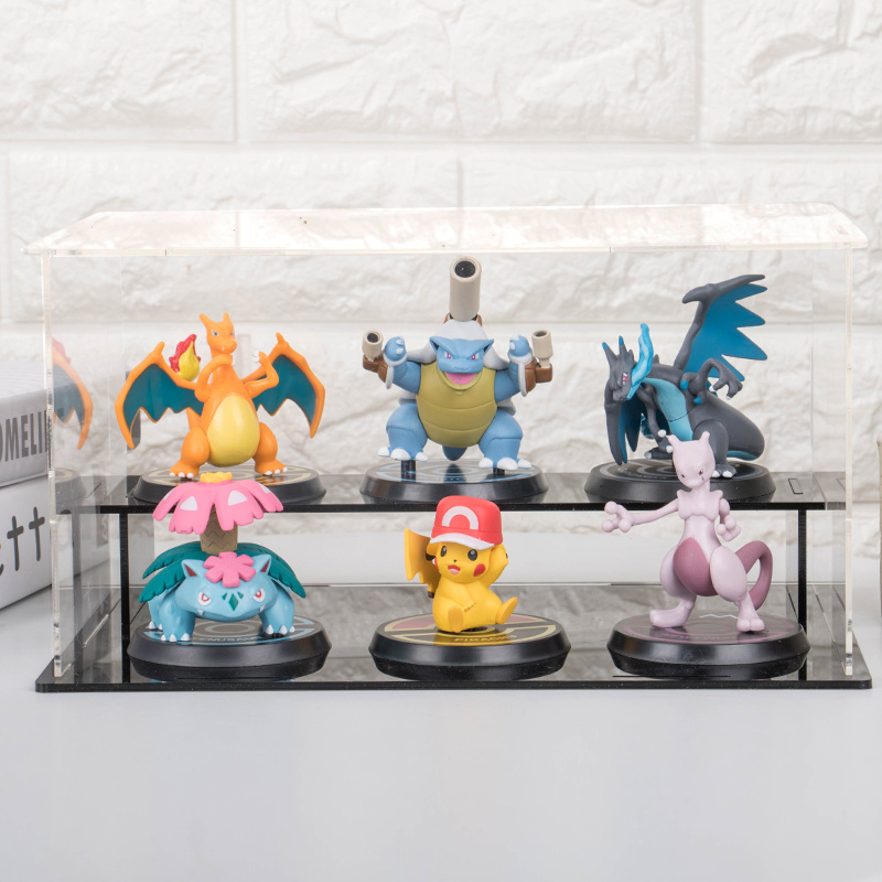 6pcs/set Pokemon Pikachu Mewtwo Charizard Venusaur Blastoise Anime Model Figure PVC Toys