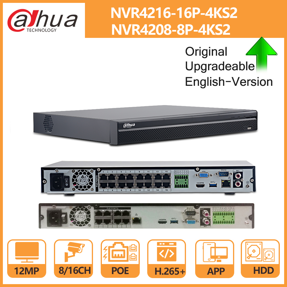 Dahua PoE NVR 4K 32CH 16CH 8CH 4K NVR4232-16P-4KS2 NVR4216-16P-4KS2 NVR4208-8P-4KS2 with HDD H 265 2 SATA for IP Camera Security