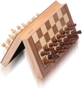 Jeu d'échecs magnétique 34CM-  ensemble de jeu d'échecs en bois de voyage portable - comprend des reines supplémentaires 1