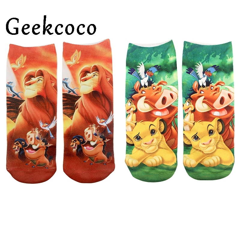 10pairs/lot Fashion Lion Sports Short Socks For Kids Men Women 3D Printed Pattern Hip Hop Cotton Sock Unisex Cartoon J0880