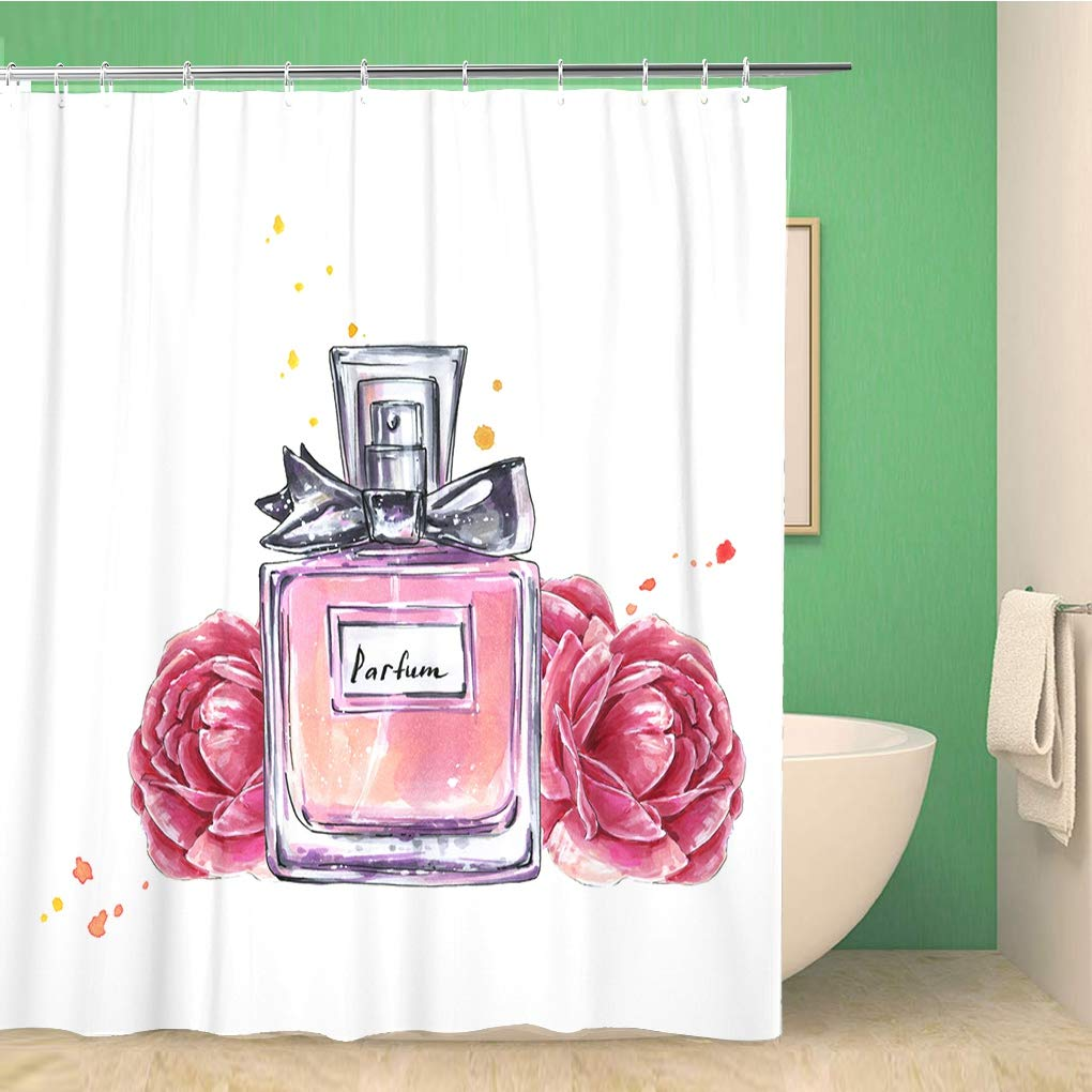 Bathroom Shower Curtain Pink Vintage Perfume Bottle and Flowers Watercolor in Sketch Polyester Fabric 72x78 inches Waterproof