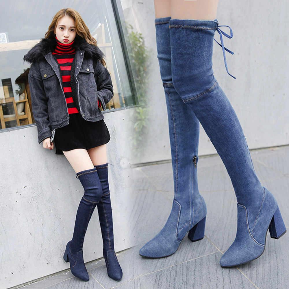 2019 ใหม่ฤดูใบไม้ร่วงเซ็กซี่เข่ายาวรองเท้าผู้หญิง Pointed Toe รองเท้าส้นสูง Denim ถุงเท้ารองเท้ารองเท้าผู้หญิง