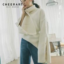 Cheerart Winter Turtleneck Sweater Women Button Slit Long Sleeve Knitted Jumper Streetwear Loose Sweater Korean Style slit lace spliced loose sweater