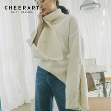цены Cheerart Winter Turtleneck Sweater Women Button Slit Long Sleeve Knitted Jumper Streetwear Loose Sweater Korean Style