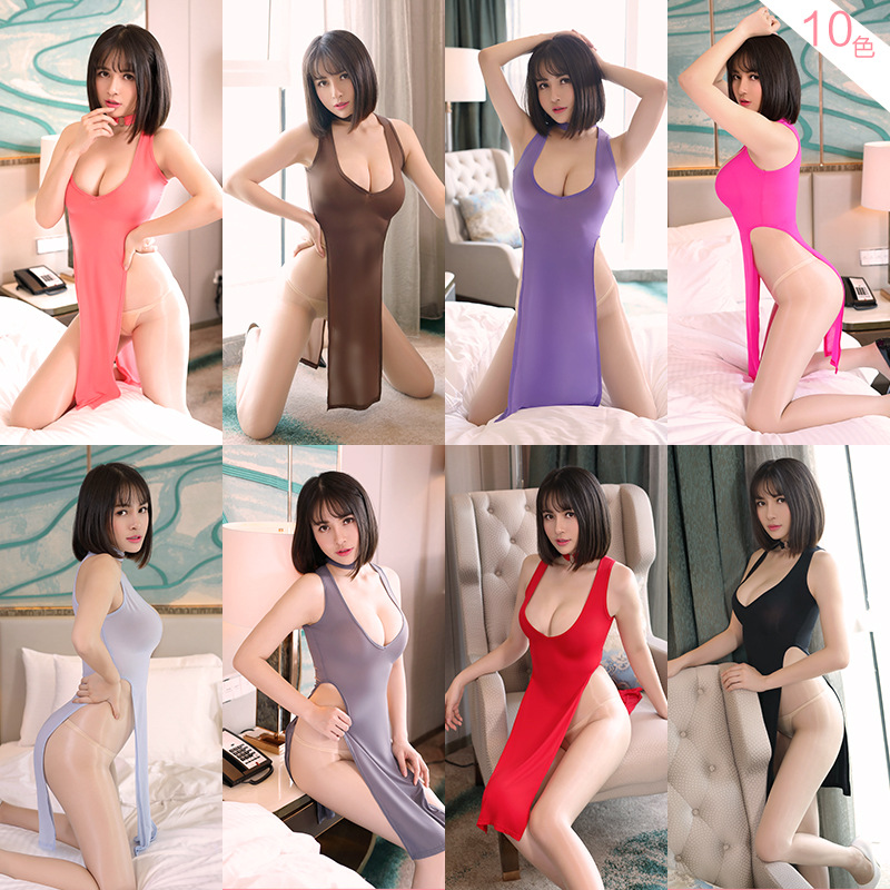 Lingerie Erotic Lingerie Feminine Pajamas Low Chest High Split Cheongsam Long Sexy Dress Erotic Sexy Dress