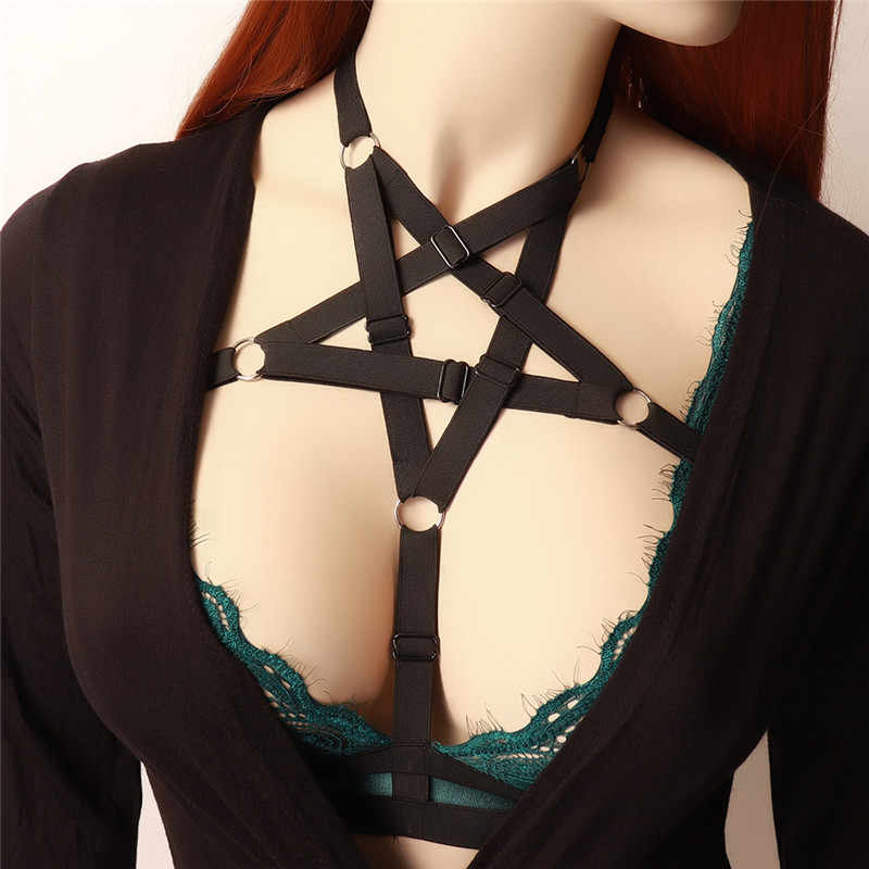 Sexy Lingerie Vrouw Harnas Beha Pastel Goth Zwarte Pentagram Cage Bra Bondage Harnas Riem Punk Open Borst Ster Body kooi