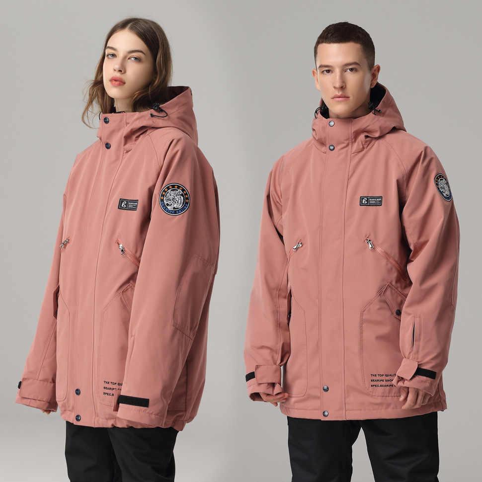 Зимняя женская и Мужская одежда для катания на лыжах и сноуборде, модные спортивные топы, водонепроницаемая ветрозащитная Толстая куртка, одежда