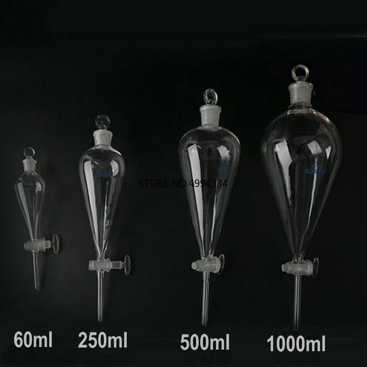 1 PC 60/125/250/500/1000/2000ml Pear-shaped/pyriform Separating Conical Funnel With Glass Ground-in Stopper Lab Glassware