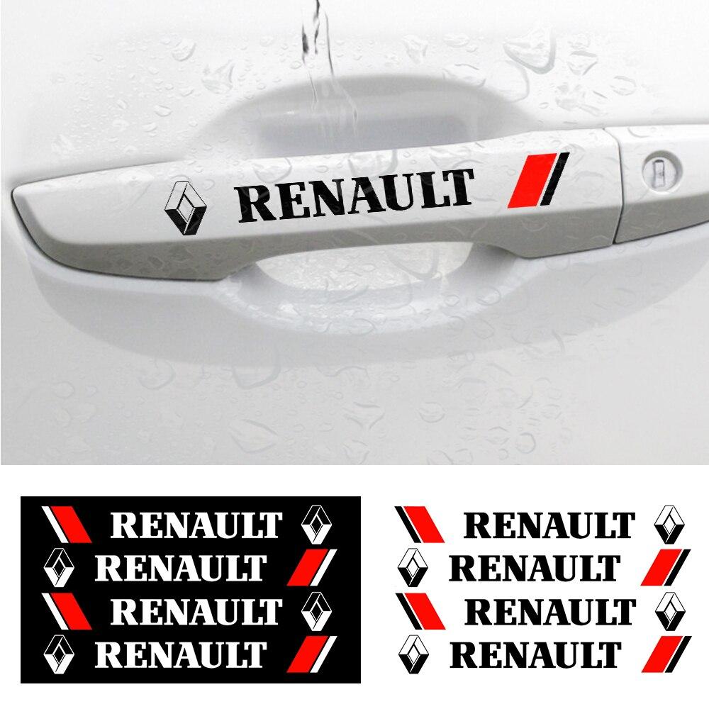 4PCS Car Door Handle Stickers Decoration Decals Car Styling  Accessories For Renault Megane 2 3 Logan Captur Clio Laguna Fluence