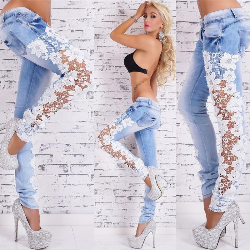 2019 New Sexy Lace Openwork Lace Jeans Female Hollow Out Patchwork Lace Jeans Pencil Jeans Ww