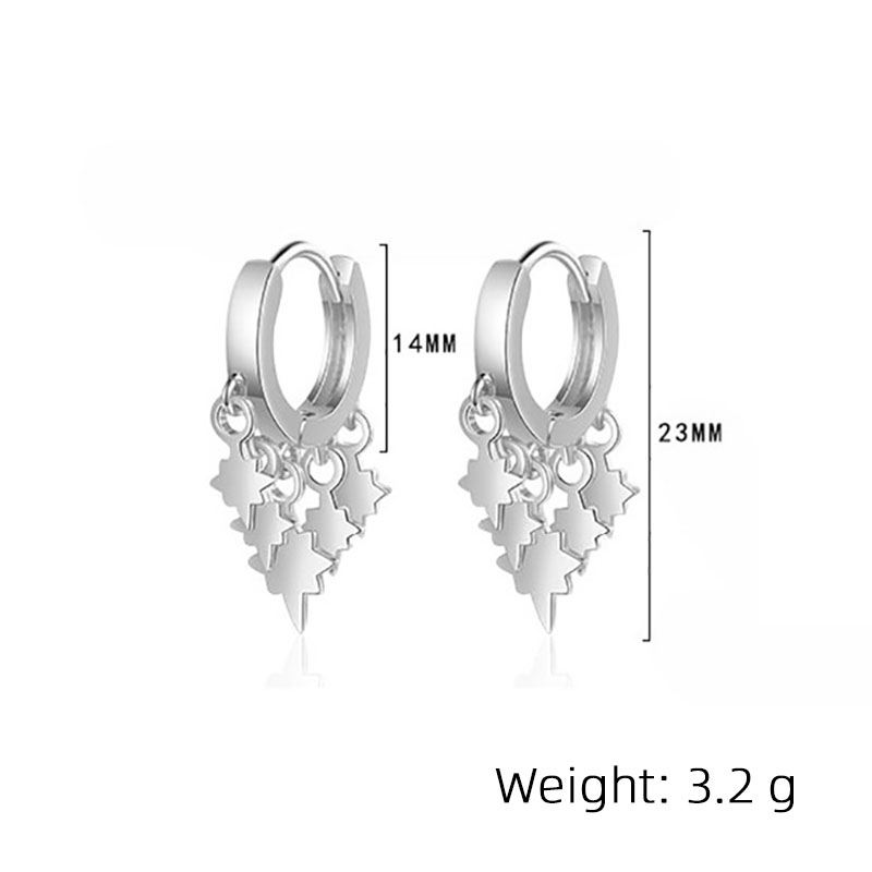 Foxanry Prevent Allergy 925 Sterling Silver Stud Earrings for Women Couples Charms Simple Tassel Lightning Earring Party Jewelry Pakistan