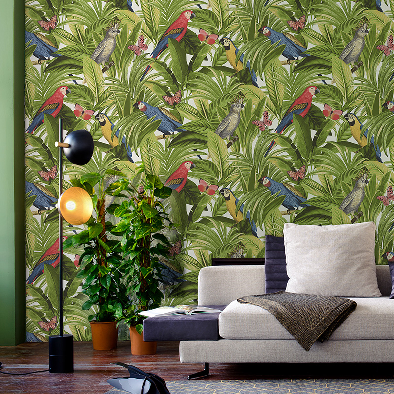 NordicNon-woven Rainforest Wallpaper Living Room Dining Room Background Papel De Parede New Birds Plants Wall Papers Home Decor