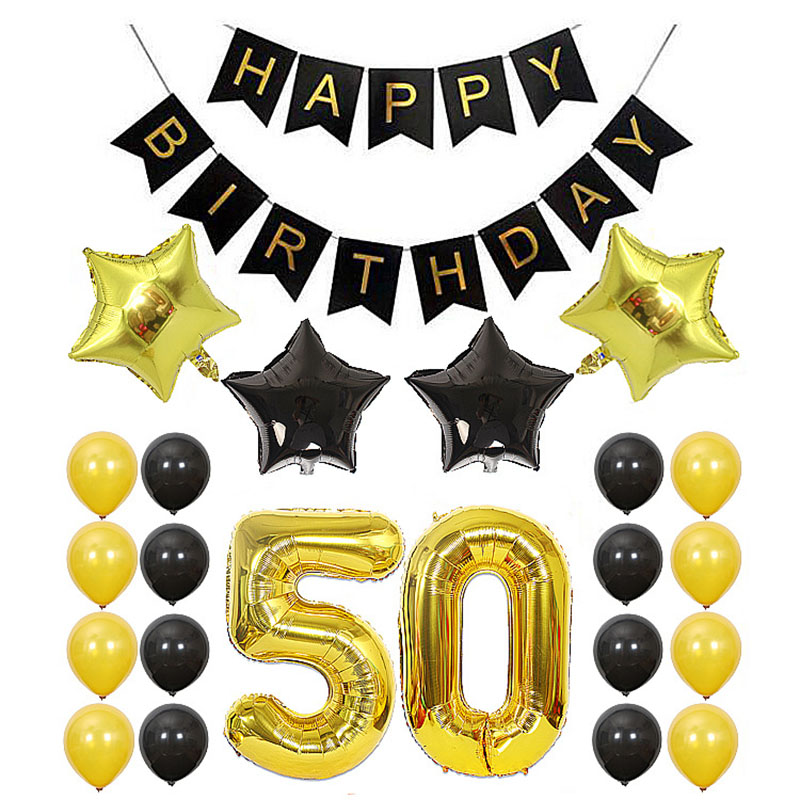 18 21 <font><b>30</b></font> 50 <font><b>Birthday</b></font> balloons set 40inch number foil ballons black gold happy <font><b>birthday</b></font> party <font><b>decorations</b></font> adult helium air balls image